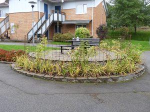 Rund trädgårdsanläggning med armeringsjärn och gröna växter